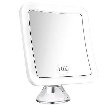 Specchio Ingranditore Da Bagno.Elfina Specchio Ingranditore Da Trucco Con Luce Led Specchio Cosmetico Illuminato Ingradimento 10x Con Potente Ventosa Ruota Di 360 Perfetto Come