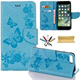 iPhone 7 Case, iPhone 7 Wallet Case, Dteck(TM) Leather Wallet Phone Cover Flip Stand Credit Card Slots Cash Holder Wrist Strap Magnetic Closure Protective Lanyard Case for Apple iPhone 7,Blue For Sale