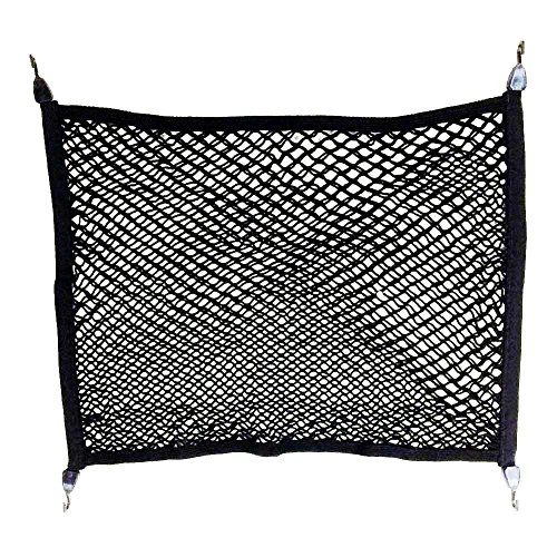 TTIO Double-Layer High Elastic Car Rear Cargo Net with 4 Hook Trunk Mesh Cargo Storage Organizer 80X60CM