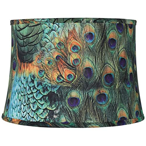 Lamp shades for floor lamps amazon peacock print drum lamp shade 14x16x11 spider aloadofball Images