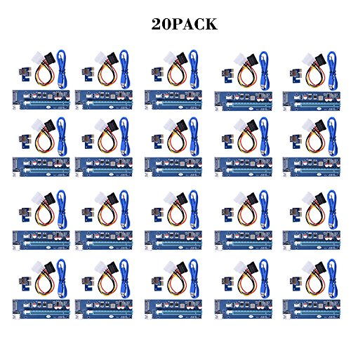 20PACK Sopolar USB3.0 PCI-E PCI Express 1X to 16X Riser Card Adapter with 15pin SATA Power Slot Connector by Sipolar