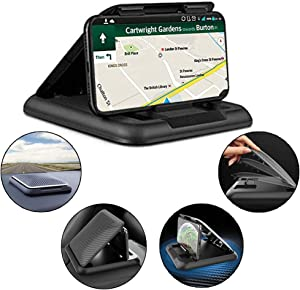Car Phone Holder Dashboard Car Phone Mount Holder with Silicone Pad Mat Car Phone Mount Compatible with iPhone, Samsung, Android Smartphones, GPS Devices and More from 4.7 to 6.7 inches (Black)