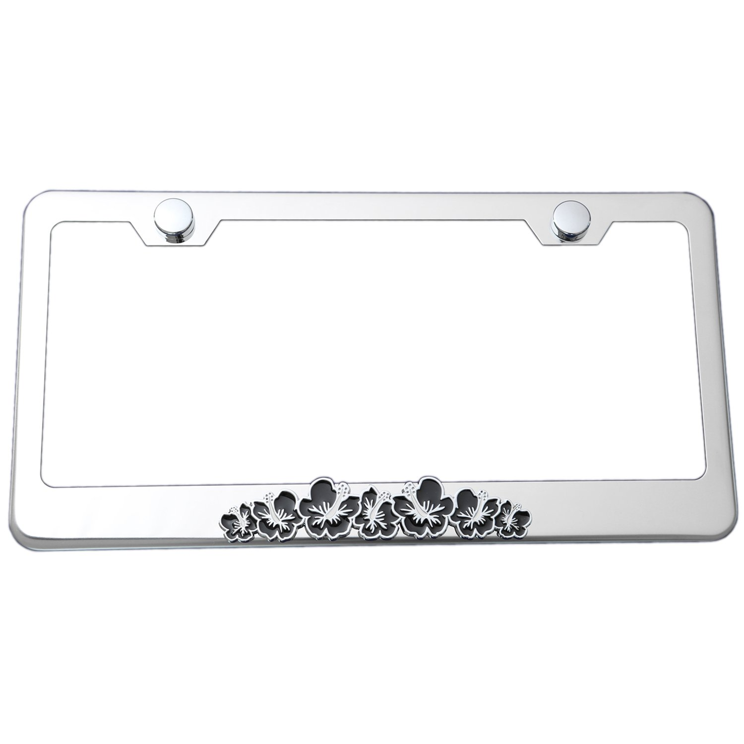 Hibiscus 3d Flower Emblem Stainless Steel License Plate Frame