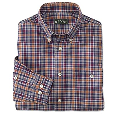 Wholesale Orvis Men's Pure Cotton Wrinkle-Free Long-Sleeved Shirts/Tall, Navy/Chili, X Large for sale