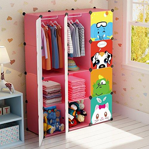 KOUSI Portable Kid Wardrobe Child Dresser Hanging Storage Rack Clothes  Closet Bedroom Armoire Cube Organizer, Pink, 8 Cubesu00262 Hanging Sections
