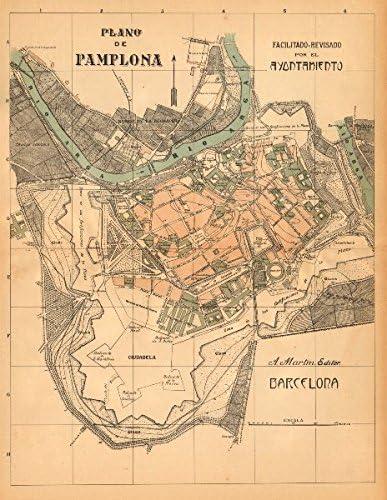 Pamplona. Plano Antiguo de la cuidad. Plan Ciudad Antigua. Martin - C1911 - Mapa Antiguo Vintage - Mapas Impresos de España: Amazon.es: Hogar