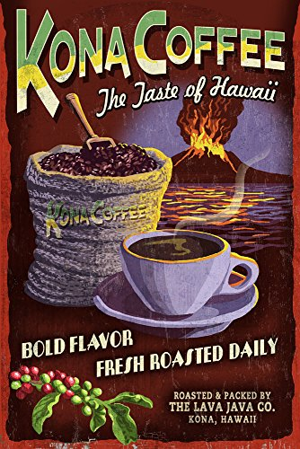 Kona Coffee Best Sign - Hawaii (12x18 Collectible Art Print, Wall Decor Travel Poster)