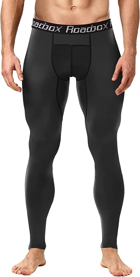 Roadbox Compression Pants Men, Running Tights Yoga Pants Gym Leggings Workout Baselayer Cool Dry