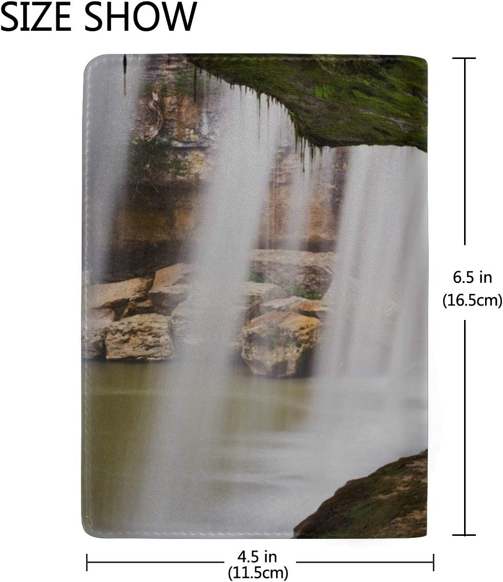 Personalized Passport Cover Spectacular Cliffs And Waterfalls Stylish Pu Leather Travel Accessories My Passport Case For Women Men