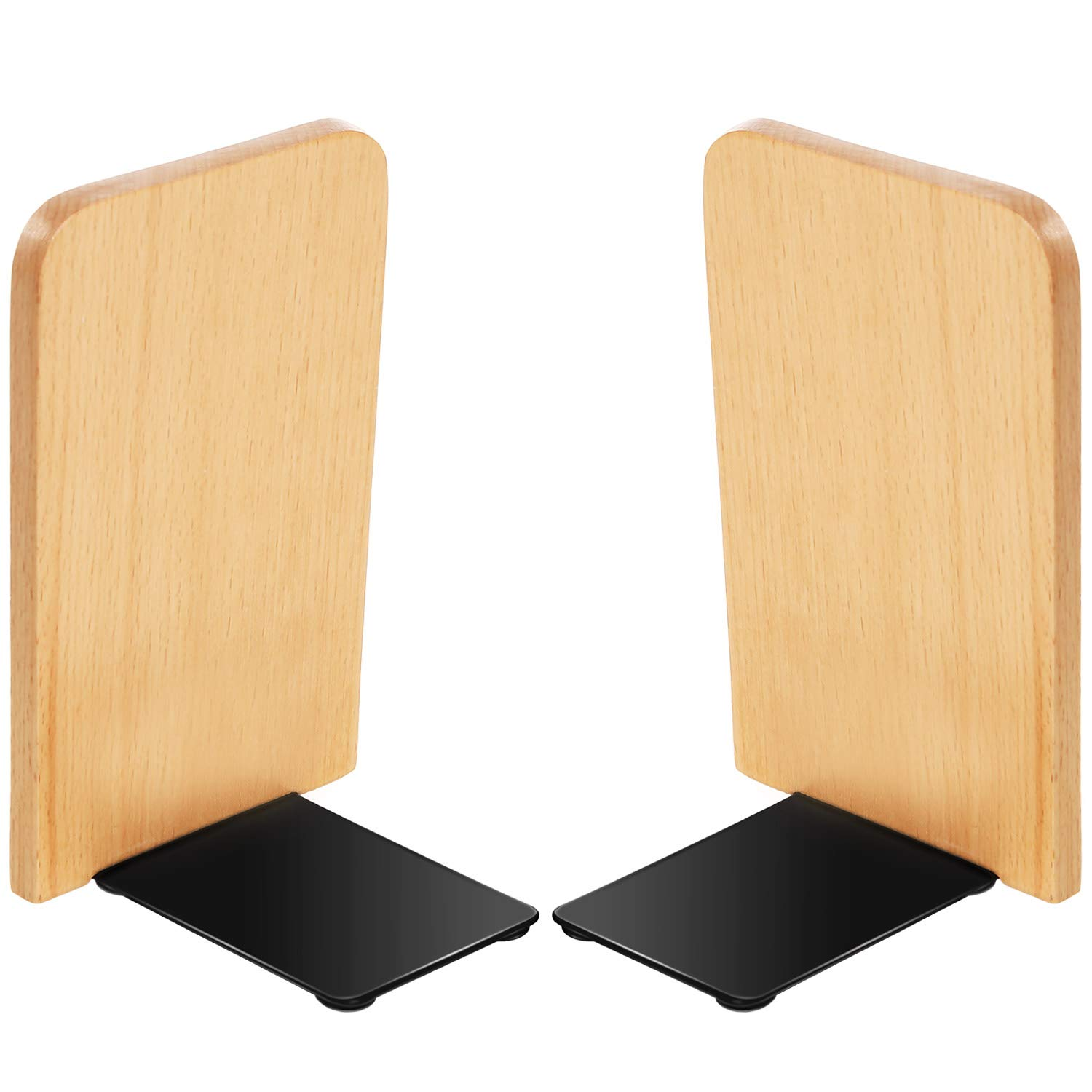 TecUnite Wood Bookends Beech Wood Art Bookends Office Hand Crafted Heavy Wooden Bookend for Book Stand (2)