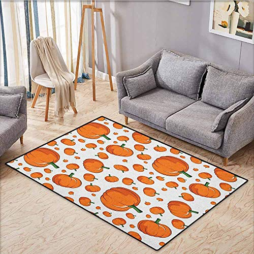 Bedroom Rug,Harvest,Halloween Inspired Pattern Vivid Cartoon Style Plump Pumpkins Vegetable,Extra Large Rug,4'11