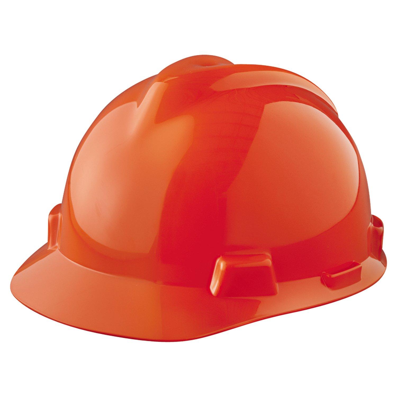 MSA Safety 463945 V-Gard Cap and Hats, Polyethylene, 5.62'' Height x 11'' Length x 8.5'' Width, Standard Size, Orange