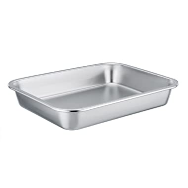 TeamFar Stainless Steel Square Rectangular Pan Hi-Side Pan, Compact Size 8''x10''x1.7'', Healthy & Non toxic, Easy Clean, Dishwasher Safe