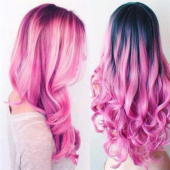 Pelucas de pelo sintético ondulado de color morado a rosa ...