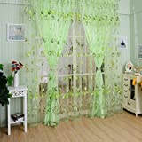 Flower Semi Sheer Curtains,Yhouse Tulip Embroidered Window Rod Pocket Top Voile Curtains Panel Yarn for Living Room, 39 x 78 Inches