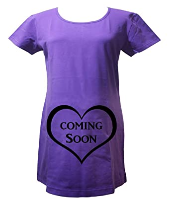 17b608ed543f1 Petitebelle Pregnant Maternity Wear Coming Soon Purple Cotton Shirt Pajama  Top: Amazon.co.uk: Clothing
