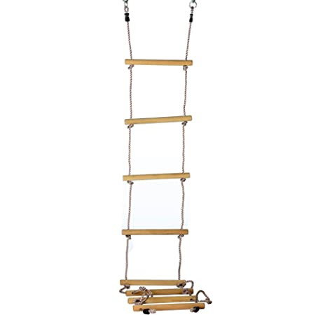 Gartenpirat Escalera de Cuerda 8 peldaños Madera sólida 290 cm: Amazon.es: Juguetes y juegos