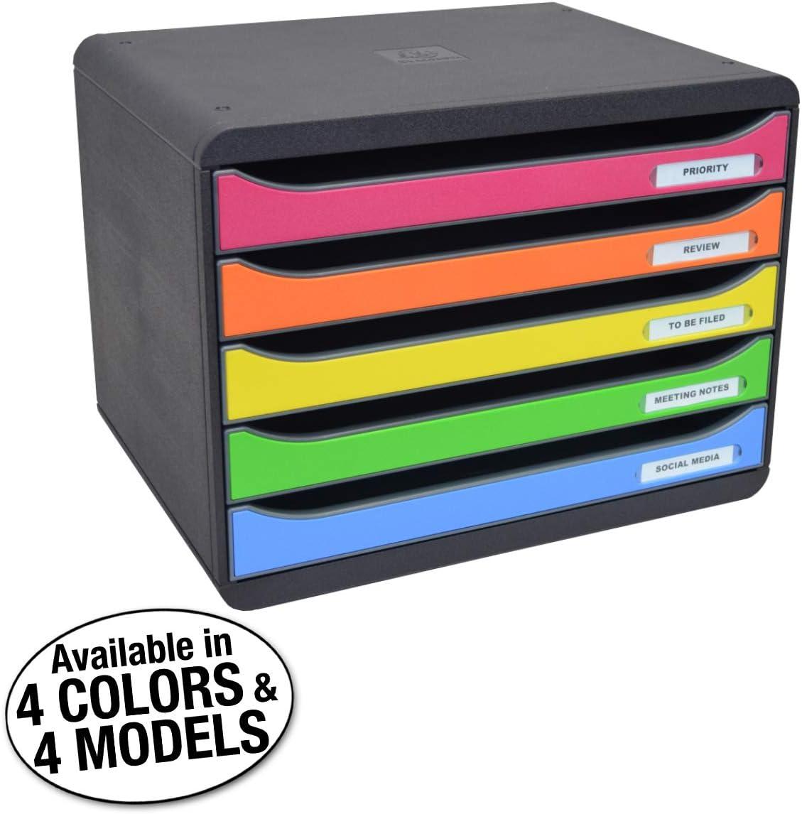 Ultimate Office MultiDrawer Desktop File Organizer Sorter Storage Box, 5 Drawer Black w/Assorted Color Fronts
