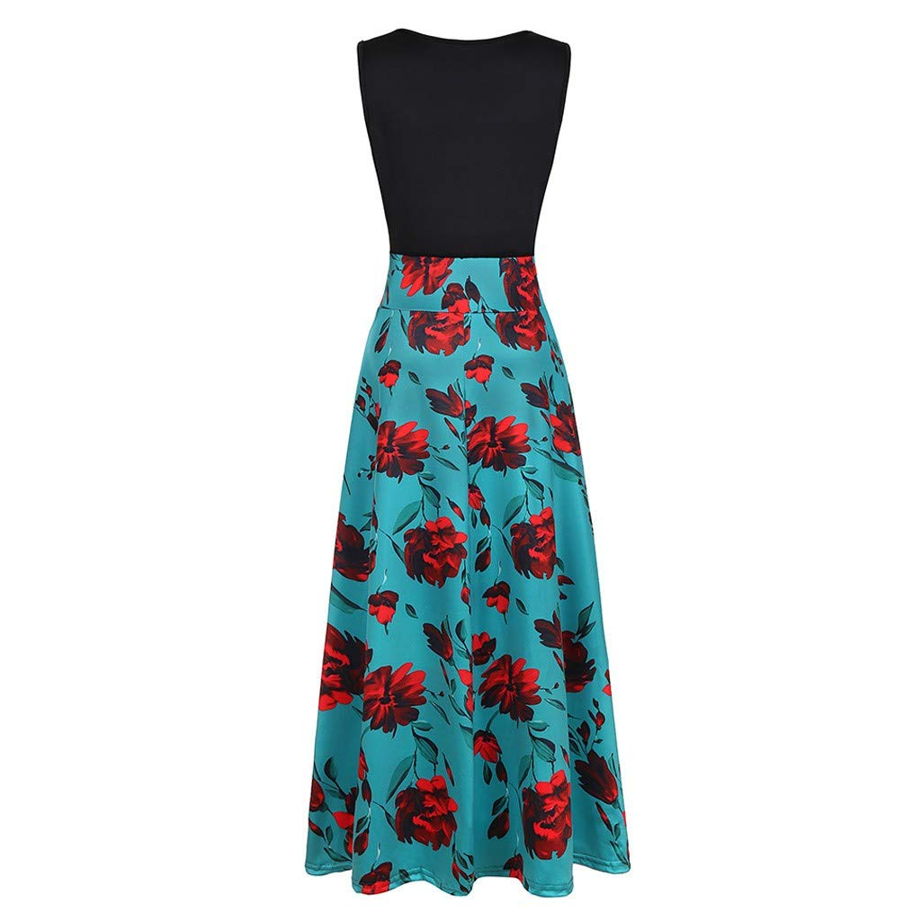 Ulanda-EU Plus Size Maxi Dresses Womens Sleeveless Floral Printed Summer Sundress Casual Evening Party Wedding Guest Long Swing Dress