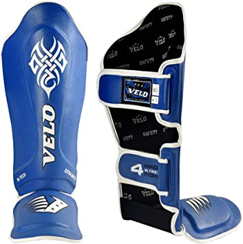 VELO Shin Instep Foot Pads MMA Leg Kick Guards Muay Thai Boxing Training