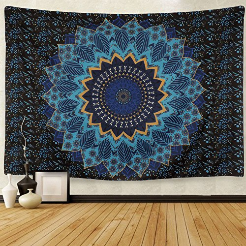 Tapestry Wall Hanging Tapestries Blue Star Hippie Tapestry Hippy Mandala Bohemian Tapestries Indian Dorm Decor Psychedelic Tapestry Wall Hanging Ethnic Decorative Hippie Tapestry by BLEUM CADE