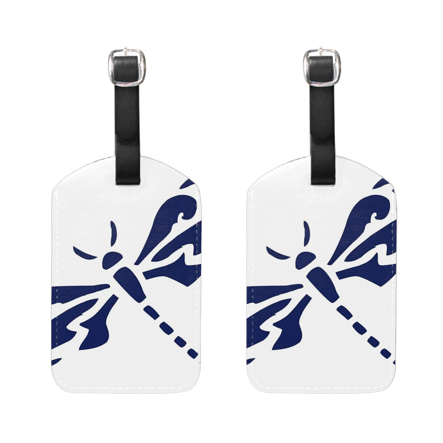 Set of 2 Dark Blue Dragonfly PU Leather Luggage Tags Suitcase Labels Bag Travel Accessories