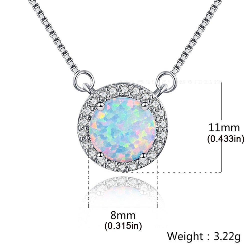 MASOP Australian 8mm Opal Choker Necklace for Women Girls Halo Cubic Zirconia Round Gemstone Pendant 14'' + 1'' by MASOP VOGU (Image #1)