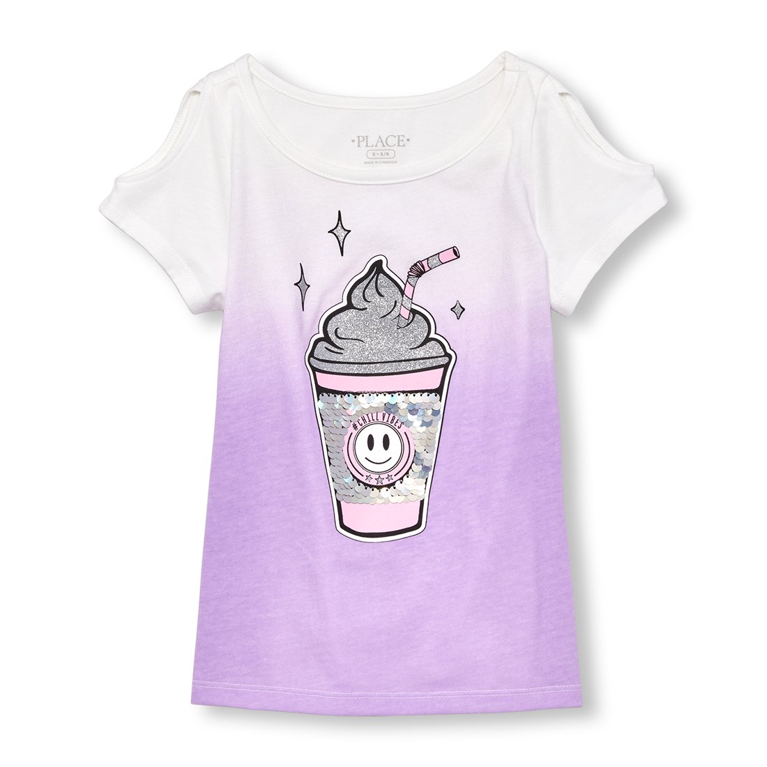 The Children's Place Big Girls' Short Sleeve Top, Purple Prose 02369, L (10/12)