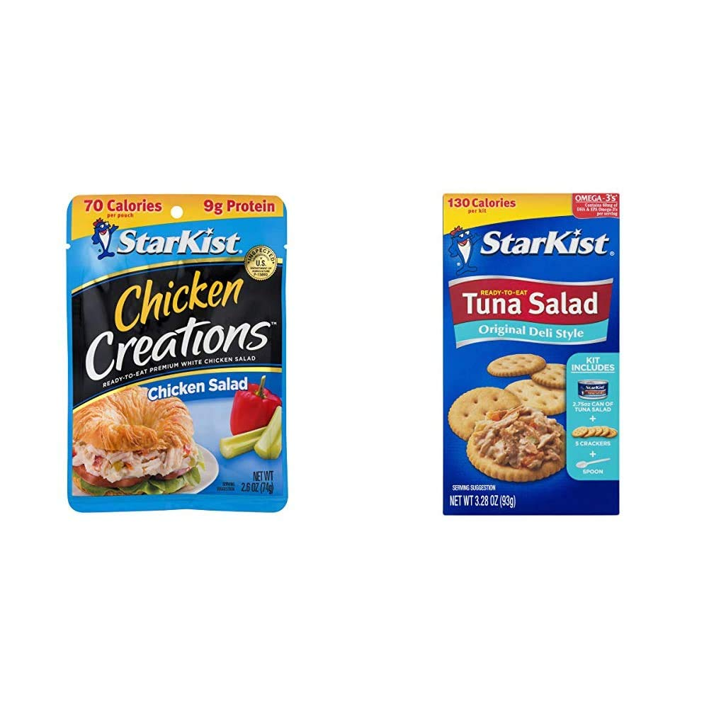 StarKist Chicken Creations, Chicken Salad, 2.6 oz Pouch (Pack of 12) & Ready-to-Eat Tuna Salad Kit, Original Deli Style (Pack of 12)