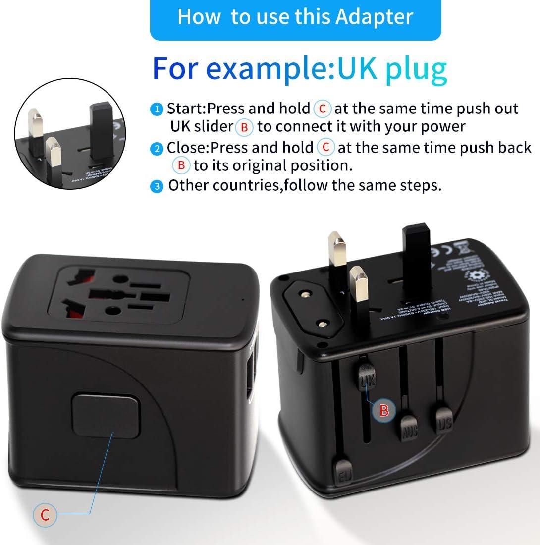 3 USB+1TYPE C Oversea Universal Travel Adapter Charger Power Converter Socket with 4 USB Type C Charging Ports US,UK,EU,AU