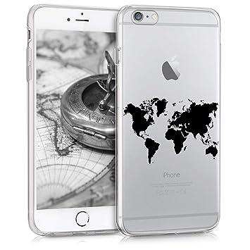 kwmobile Funda compatible con Apple iPhone 6 Plus / 6S Plus - Carcasa de [TPU] y diseño de mapa del mundo en [negro / transparente]