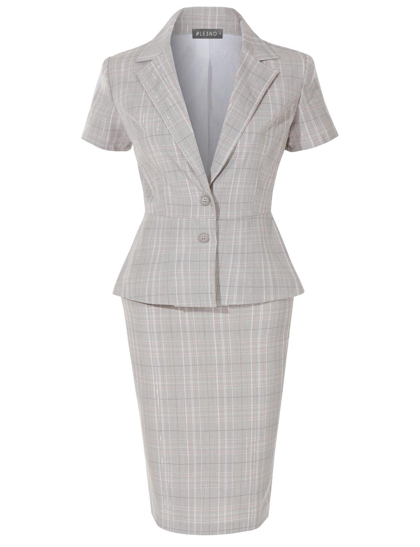 LE3NO Womens Classic Plaid Short Sleeve 2 Button Blazer and Midi Pencil Skirt Suit Set
