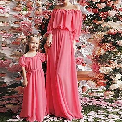 bec055fba4b48 Summer Women Kids Mom-Daughter Chiffon Long Maxi Dress Party Wedding ...