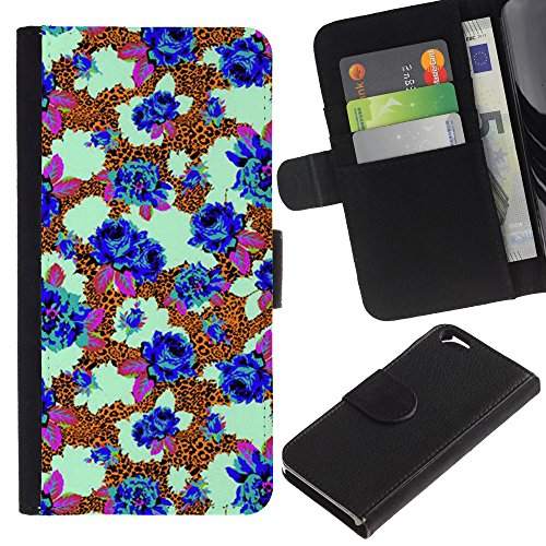 UberTech / Apple Iphone 6 4.7 / Blue Flowers Bee Pattern Stylish / Cuir PU Portefeuille Coverture Shell Armure Coque Coq Cas Etui Housse Case Cover Wallet Credit Card