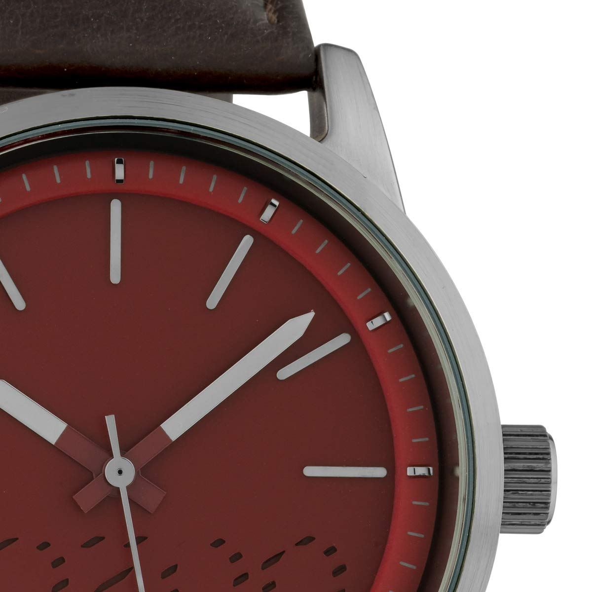 Oozoo mode herrklocka med läderrem kvarts klassisk 43 mm Vinröd/mörkbrun