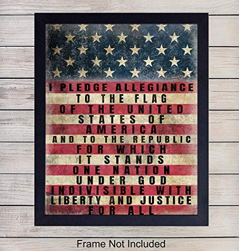 - Patriotic American Flag Pledge of Allegiance Wall Art Print - Vintage Farmhouse Retro Home Decor - Great Gift for Military Veterans and 4th of July - Unframed 8x10 Photo
