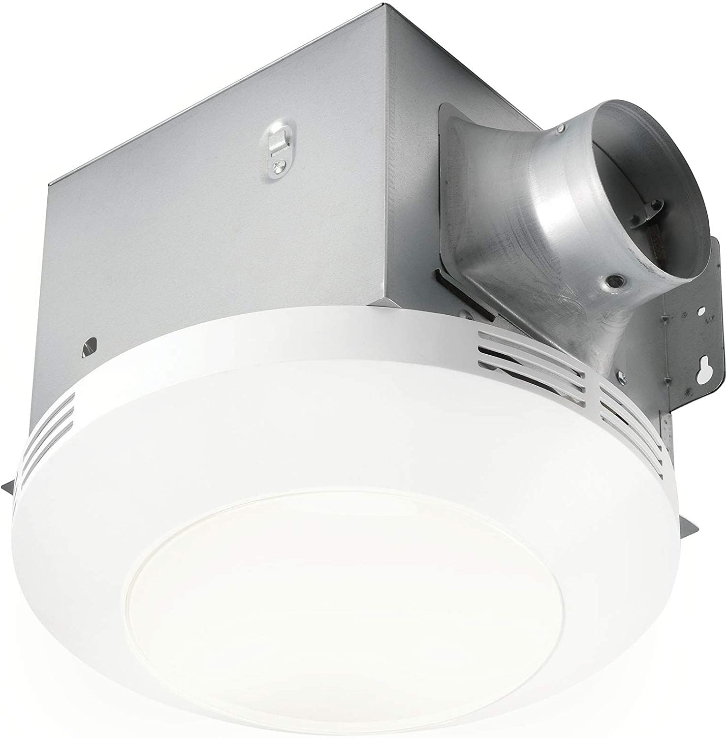 Homewerks Worldwide 7117-01-WH Bathroom Integrated LED Light Ceiling Mount Exhaust Ventilation 1.1 Sones 80 CFM, Bath Fan White