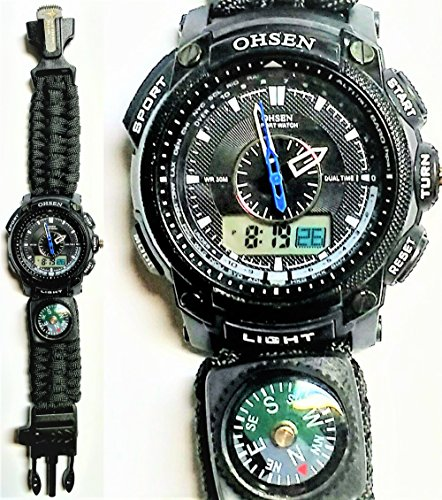 NEW BLACK Tactical Outdoor Waterproof Survival Paracord SR101 Ohsen Watch by Southern Retail