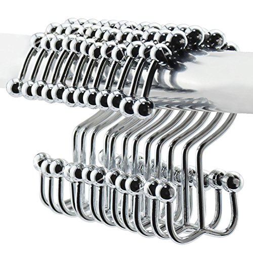 LifBetter Stainless Steel Rustproof Double Glide Shower Curtain Hooks - Bathroom Curtain Rings with Free Round Rollers - Set of 12 (Polished Chrome)
