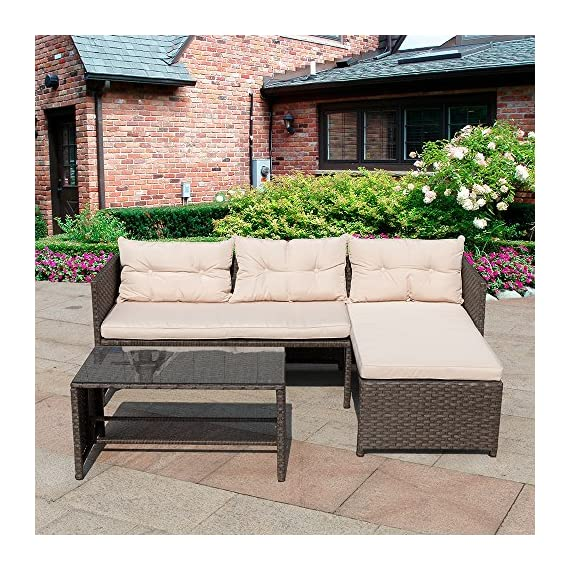 """Homall 3 Pieces Outdoor Rattan Wicker Patio Furniture Sofa Set Lounge Chaise with Cushions and Pillows for Dining and Conversation - -Wicker furniture set comes witha sofa,chaise lounge and coffee table with tempered glass. -Patio furniture set, strong steel frame with all weather PE rattan wicker. -Ideal for patios, backyards, gardens, balconies, poolside and more. Sofa Dimensions: 25.2""""W x 49.2""""D x 25.2""""H;Chaise Lounge Dimensions: 25.2""""W x 49.2""""D x 25.2""""H - patio-furniture, patio, conversation-sets - 61skBAkeXIL. SS570  -"""
