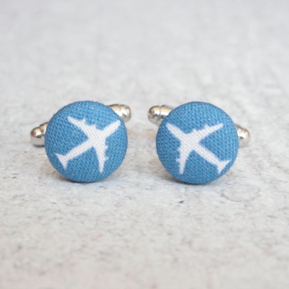 Airplane Fabric Button Cufflinks