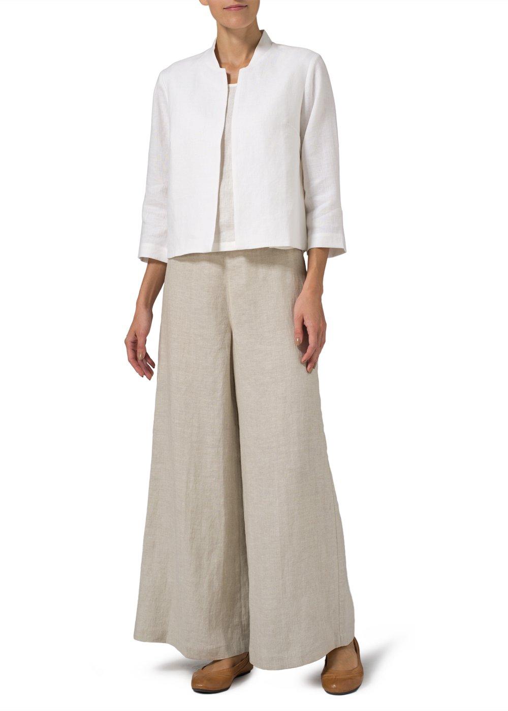 Vivid Linen Crop Blazer-M-Soft White