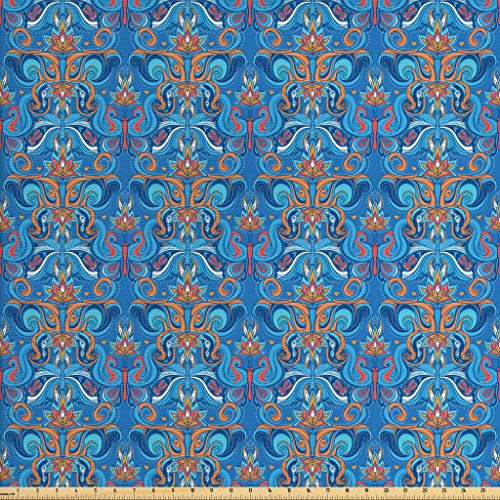 Ambesonne Blue Fabric by The Yard, Abstract Floral Pattern with Paisley Influences Ornate Curls Swirled Leaves, Decorative Fabric for Upholstery and Home Accents, 1 Yard, Blue Orange Coral