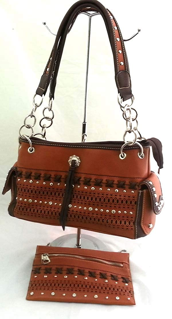 Brown Unique West  Vegan Polyester Leather Western Woven Tooling Purse Handbag
