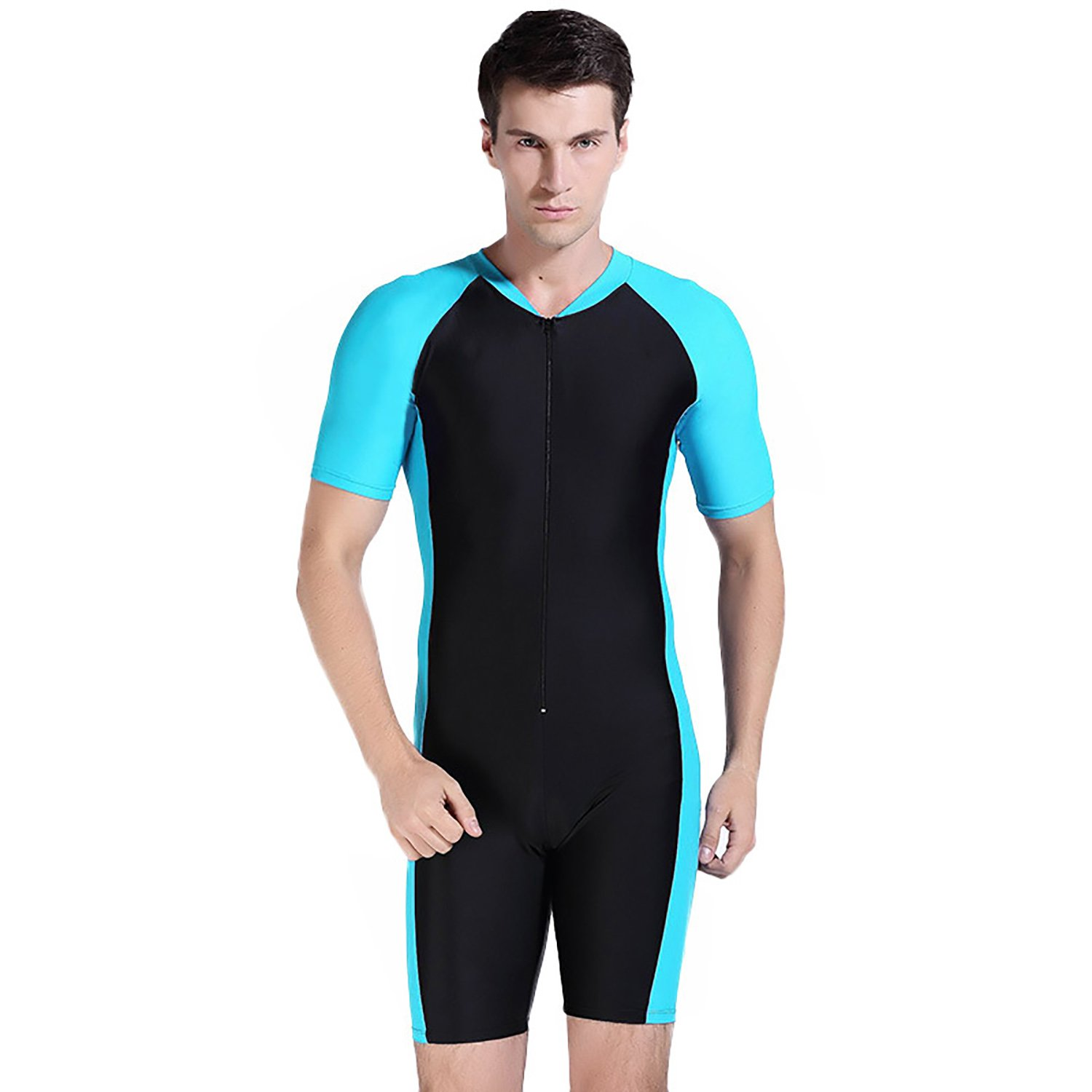 Cahayi One-Piece Surfing Snorkeling Swimsuit Short Sleeve Swimwear Plus Size