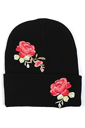 bd39fc65540b4 ScarvesMe Rose Flower Embroidered Beanie Hat (Black)  Amazon.in  Clothing    Accessories