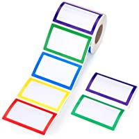 """Mionno 500pc 5 Colors Adhesive Name Tag Stickers, 3.5"""" x2.25"""" Colored Blank Name Tag Category Tags for Office, School…"""