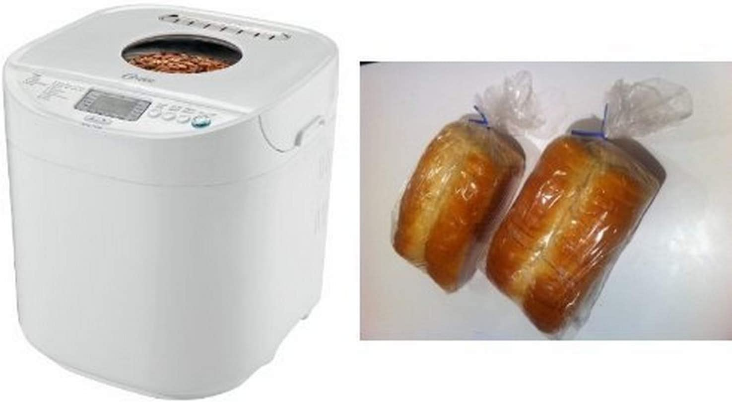 Oster 2-Pound Expressbake Bread Machine with 13-Hour Delay Timer, CKSTBRTW20 and Bread Loaf Bags Pack of 100 with 100 Free Bread Ties! Bundle