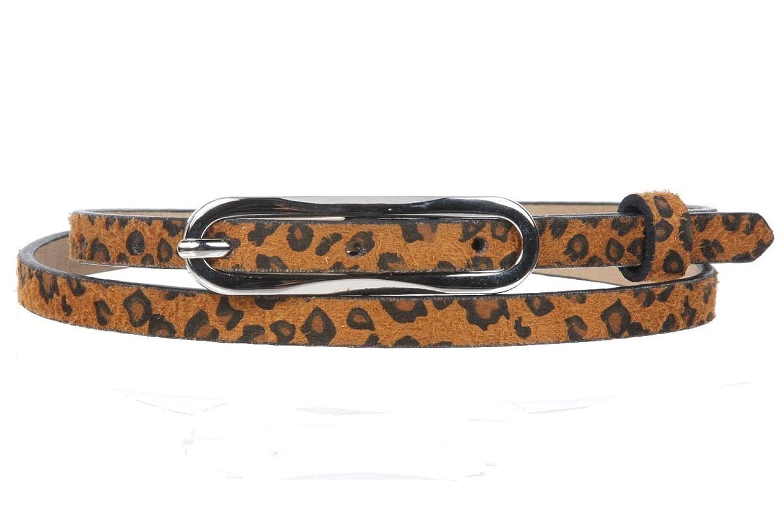 3/8 Inch Leopard Faux Animal Fur Skinny Fashion Belt