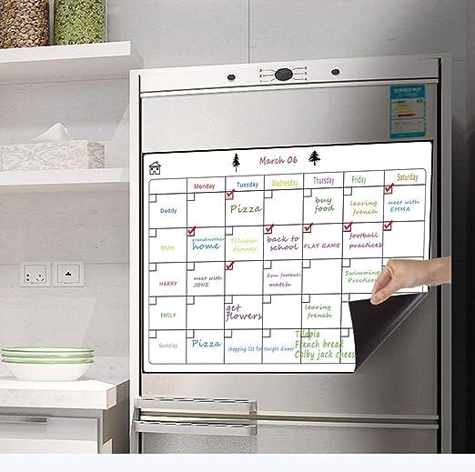 TANG Calendario magnético de borrado en seco para frigorífico ...